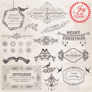 christmas calligraphic frame and decor vector