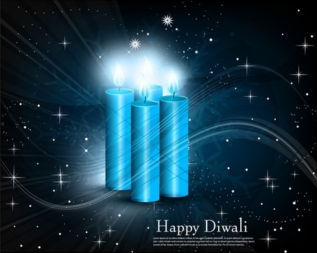 diwali banner template candles icon twinkling 3d decor