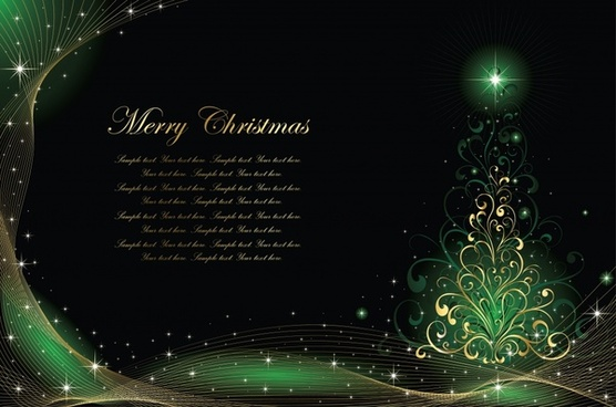 christmas card template sparkling dark green golden decor