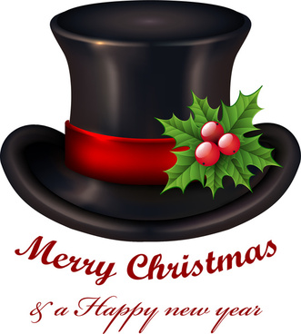 christmas card background with black hat and calligraphy