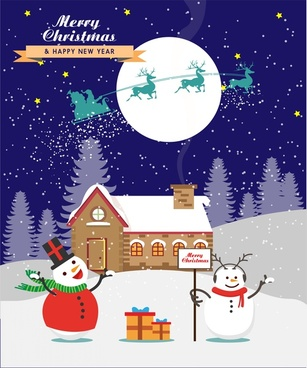 christmas card cover design snowmen in moonlight style