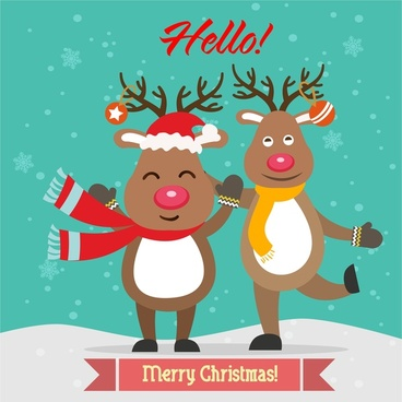 christmas card cover design with cute reindeers