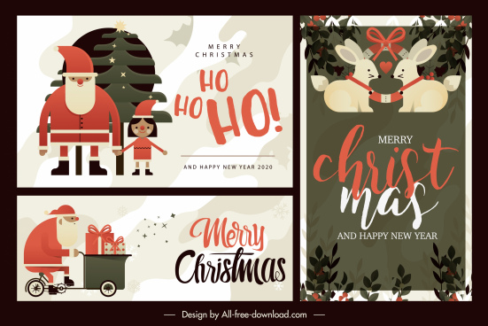 christmas card cover templates flat retro elements decor