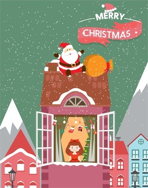 christmas card cover with santa claus delivering gifts