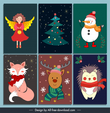 christmas card design elements colorful classical symbols