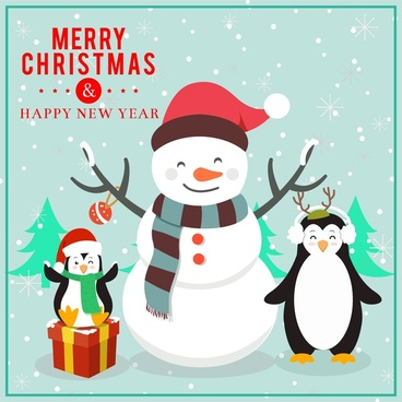 christmas card design with funny penguins and snowman