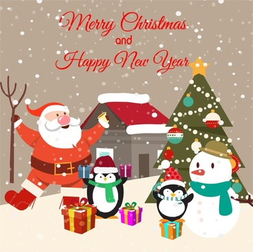 Free christmas card download free vector download 17934 free christmas card design with penguins and santa claus m4hsunfo