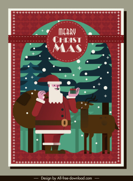 christmas card template classical santa claus reindeer sketch