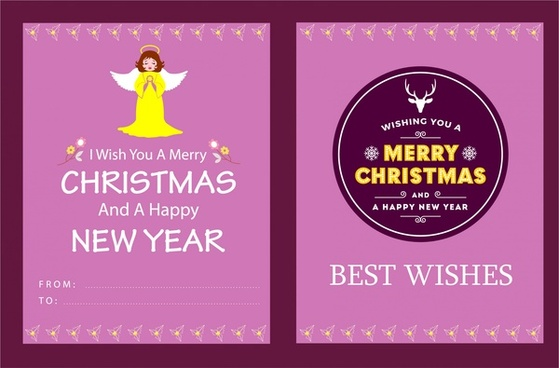 christmas card template in pink color design