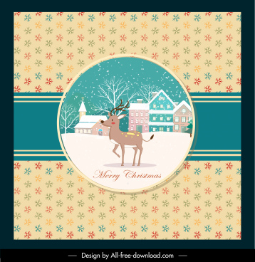 christmas card template snowflakes reindeer snow scene decor