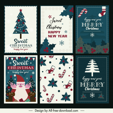 christmas card templates classical flat symbols decor