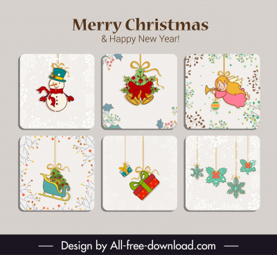christmas card templates colorful flat classical symbols