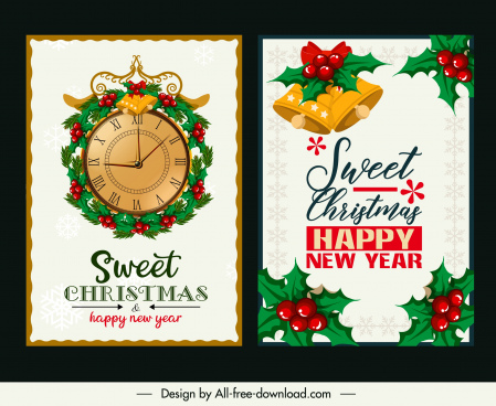 christmas card templates elegant classical clock bells decor