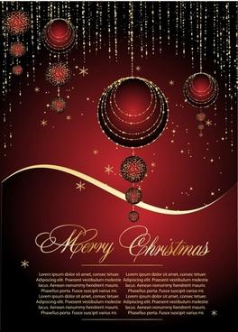 christmas banner elegant dark red design twinkling baubles