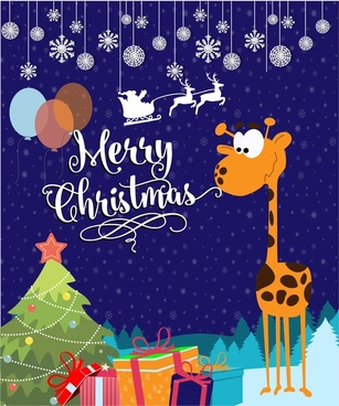 christmas card vector illustration with cute giraffe