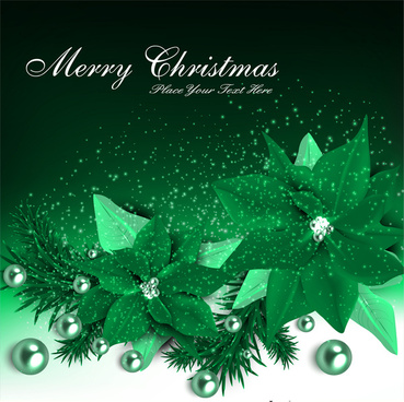 christmas card with green poinsettia on dark background
