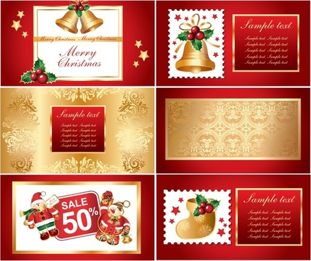 christmas cards templates elegant red golden symbols decor