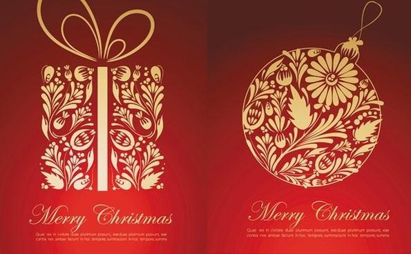 Captivating Beautiful Christmas Cards Vector · Christmas Card Cover Sets Red Classical  Style