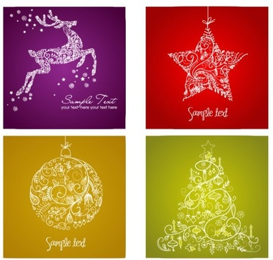 christmas background sets reindeer star bauble fir icons