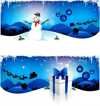 xmas backgrounds shiny modern design snowman gift icons