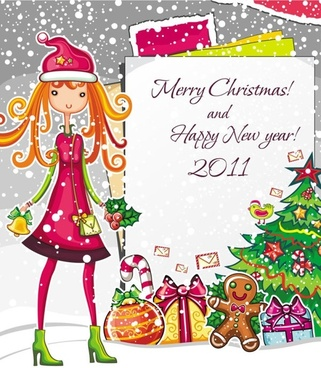christmas cartoon girl image vector