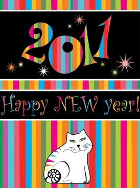 2011 new year banner colorful stripes cat decor