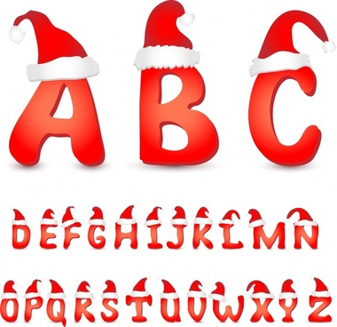 Christmas christmas hats vector english font alphabet