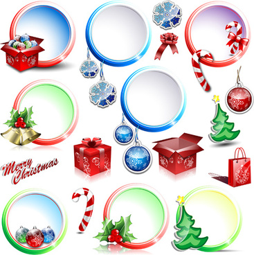 christmas circular decor illustration vector