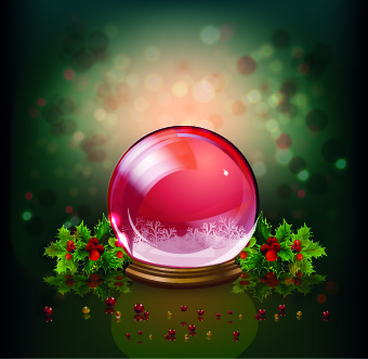 christmas crystal ball design background vector