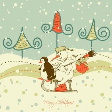 christmas cute cartoon illustrator vector lines