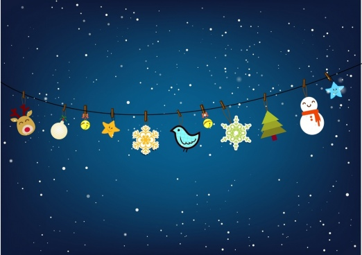 christmas decor background various hanging objects on line