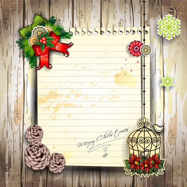 christmas decor paper on the wood wall vector