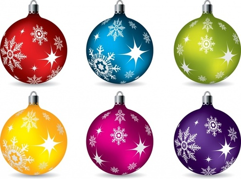christmas bauble ball icons colorful shiny decor