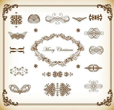 christmas decoration elements vector illustration set