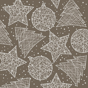 christmas decorations background vector line art