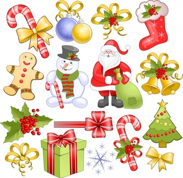xmas design elements colorful shiny symbols sketch