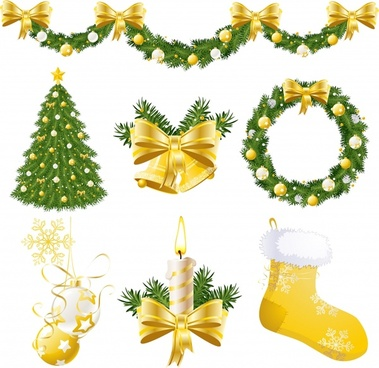 christmas design elements elegant wreath socks baubles sketch