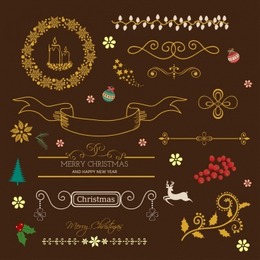 christmas decorative design elements classical decor