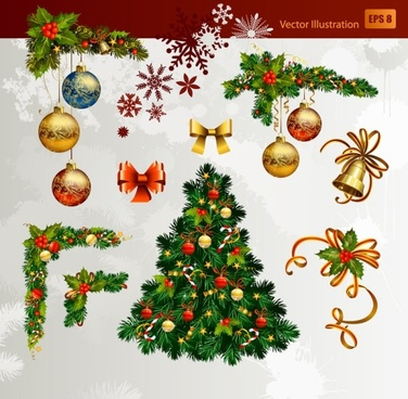 christmas decorative elements 01 vector - Free Christmas Decorations