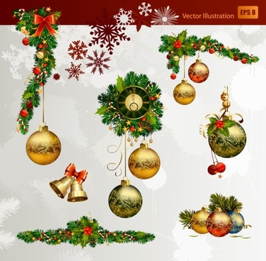christmas decorative elements 02 vector - Free Christmas Decorations