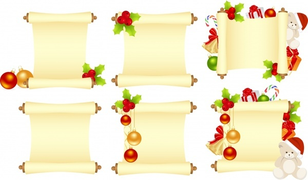 xmas banner templates colorful baubles paper rolls shapes
