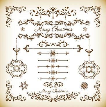 christmas decorative floral elements vector set