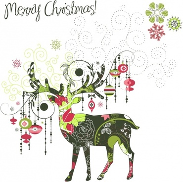 christmas deer pattern vector