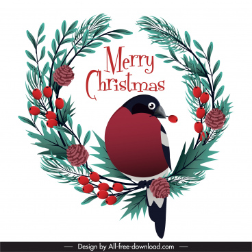 christmas design element bird wreath sketch