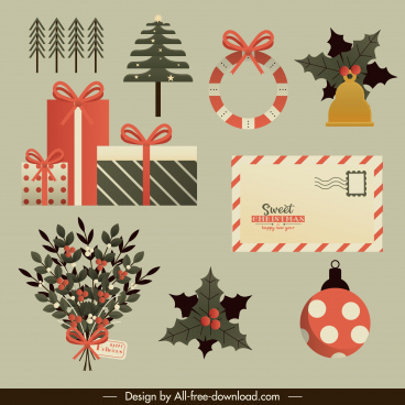 christmas design elements baubles gifts envelope flora sketch
