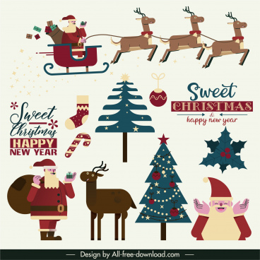 christmas design elements classical colored flat symbols sketch