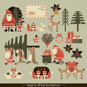 christmas design elements classical flat symbols sketch