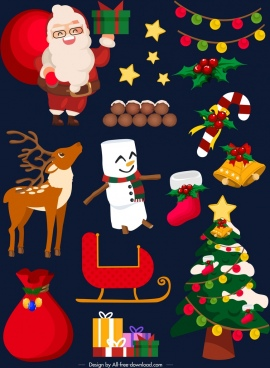 christmas design elements colored classical symbols