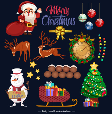 christmas design elements colorful classic symbols sketch