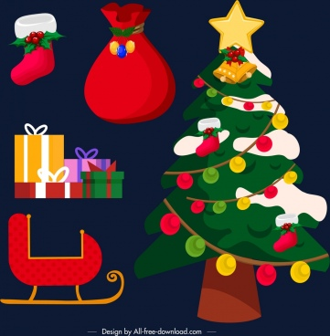 christmas design elements colorful classical decor